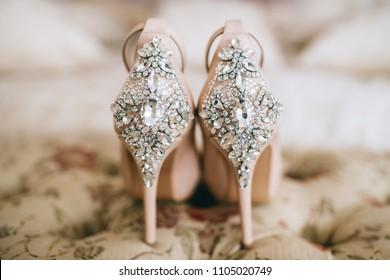 Bridal Jeweled Satin Dress Shoes Sandals