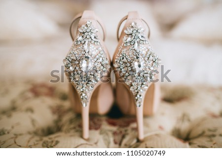 7b7d9b9bc0cd Bridal Jeweled Satin Dress Shoes Sandals Stock Photo (Edit Now ...