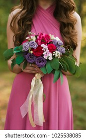 Bridal morning details. Wedding bouquet in the hands of the bride, selectoin focus