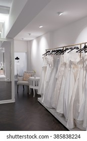 Bridal shop, Wedding dress store, portrait size, corridor to change rooms