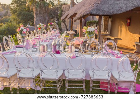 bridal shower or baby shower event decor outdoors with tables and chairs with pink decorations
