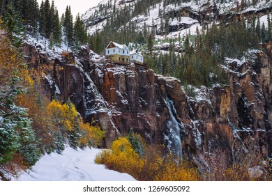 Bridal Veil Falls with a hydroelectric power plant at its top in Telluride, Colorado. This waterfall is located at the end of the box canyon.