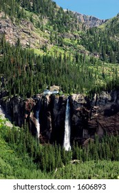 Bridal Veil Falls and Powerhouse in the San Juan Mountains of Colorado in summer
