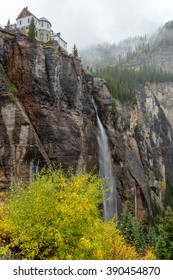 Bridal Veil Falls, Telluride, CO - Vertical - Autumn view of the Bridal Veil Falls, the highest (365-ft) free falling waterfall in Colorado, Telluride, Colorado, USA.