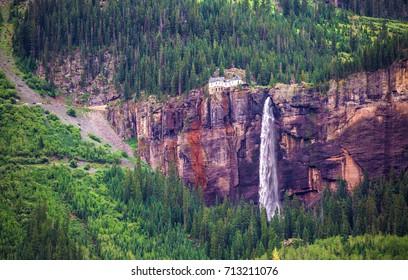 Bridal Veil Falls  in Telluride, San Juan Mountains, Colorado,USA.