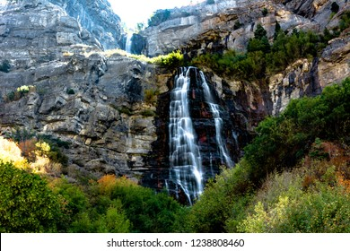 Bridal Veil Falls, Utah, USA. 607-foot-tall double cataract waterfall in the south end of Provo Canyon. Long exposure.