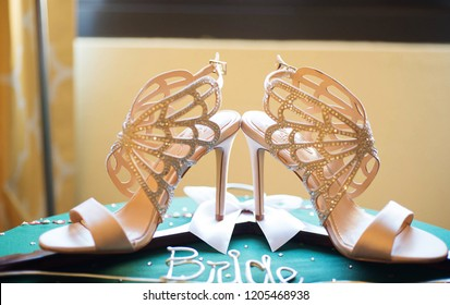 Bridal wedding high heels shoes Karachi, Pakistan, October 18, 2018