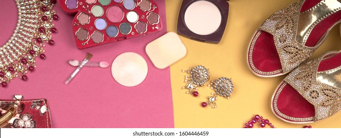 Bridal wedding jewelry and shoes, make up accessories on beautiful background. Top view, Space for text.