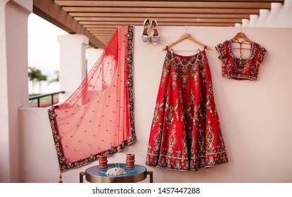 Bridal wedding sandals shoes with jewelry and Lehenga sharara blouse dress Karachi, Pakistan, July 01, 2019