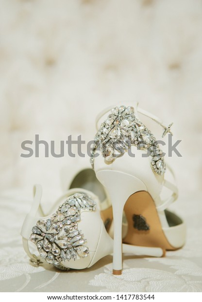 Bridal Wedding White Sandals Shoes Jeweled Stock Photo Edit