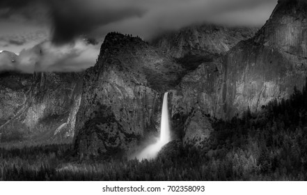 Bridalveil Fall in Yosemite in B&W, California, US