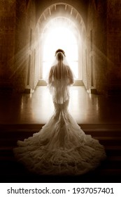 Bride Back Side View walking down Aisle Church. Woman In Window Door Light. Wedding Ceremony Day. Bridal Dress long Train and Lace Veil. Indoor Art Portrait - Shutterstock ID 1937057401