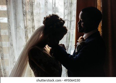 Bride beautiful young woman kisses hand of groom handsome african American man on background of window