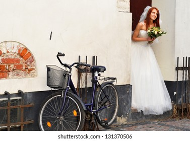Bride with bicycle