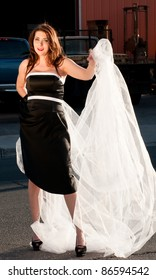 Bride in black dress and white veil