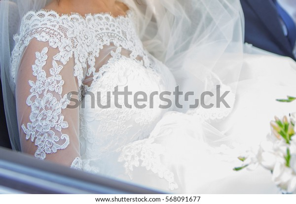 Bride in a car