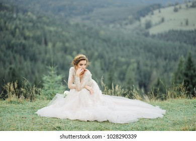 bride in the Carpathian mountains