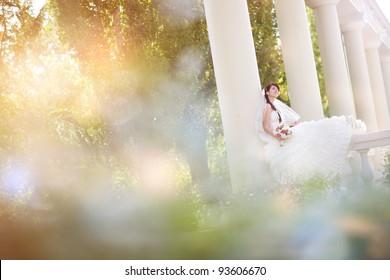 bride in columns