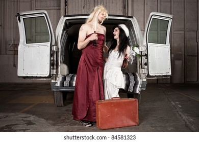 Bride and cross dressing Groom at Hillbilly Wedding