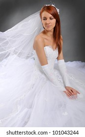 The bride in a dress with a magnificent skirt