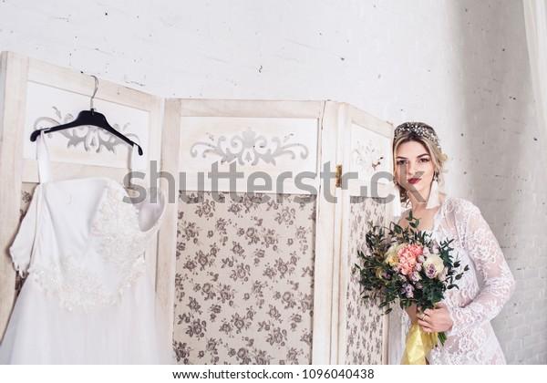 Bride Dressed Peignoir Underwear Stands Near People Stock Image
