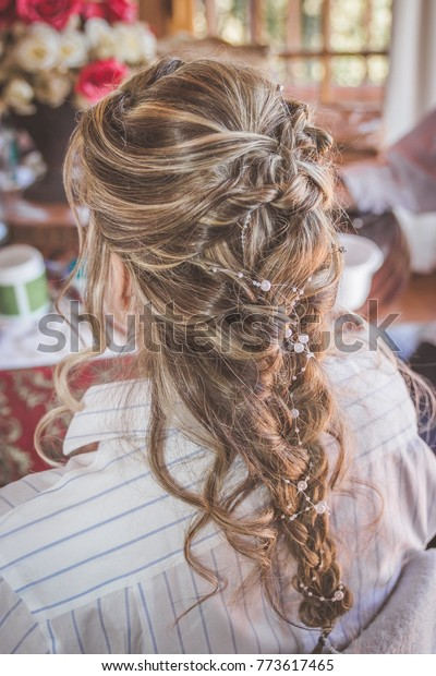 Brilliant Bride French Braid Hairstyle Wedding Hairdo Stock Image Download Now Natural Hairstyles Runnerswayorg