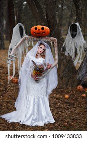 Bride Ghost walks in the forest  near two ghost with flowers in her hands, Halloween, Samhain