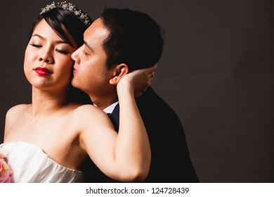 bride and groom asian is Romantic love scene