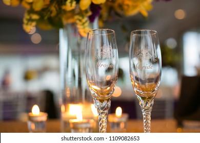 Bride & groom champagne glasses.