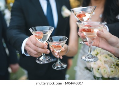 bride and groom clinking champagne glasses with guests