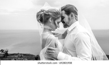 Bride and groom, couple in love during a wedding photo session