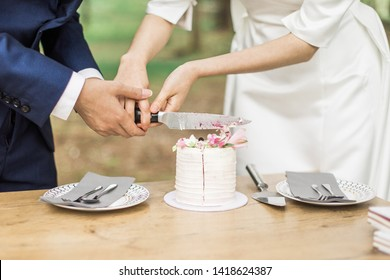 Bride and groom cutting small wedding cake, close up