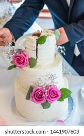 Bride and groom are cutting a wedding cake.