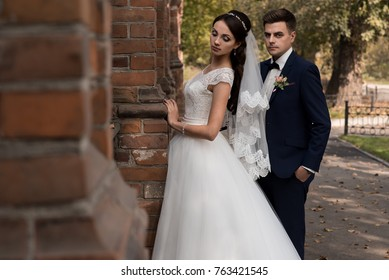 Bride and groom embrace outdoors. Building. Autumn. Brick wall.