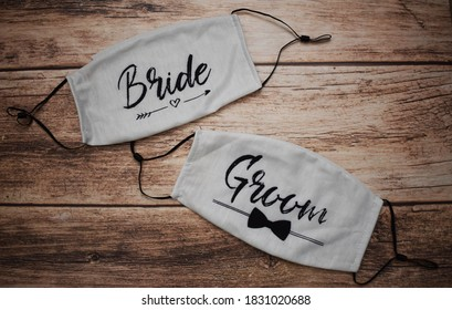 Bride and groom face masks for wedding - Shutterstock ID 1831020688