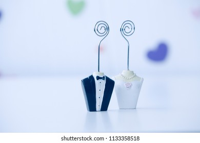 bride and groom Figure Card Holder with clip