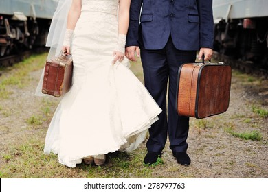 bride and groom going to honeymoon