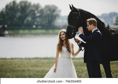 Bride and groom hold a bridle standing with black horse