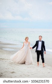 Bride and groom hold each other hands tender walking along the beach by the sea