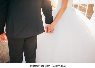 Bride and groom holding hands. Wedding in Montenegro.