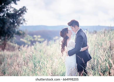 Bride and groom  hugging on the meadow. Romantic scene. Wedding couple with pastel tone. Bride and groom on field background. Asain wedding.