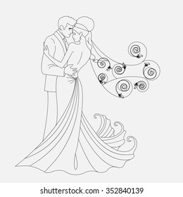 bride and groom kissing and cuddling