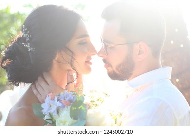 Bride and groom kissing in the park. Gentle touches of the face. Newlyweds. Closeup portrait of a beautiful bride and groom.