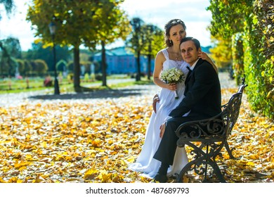 Bride and groom on the background of autumn park