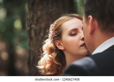 bride and groom on the background of trees and forest sun.
