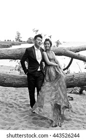Bride and groom on their wedding day outdoors. Chinese bride in a blue dress