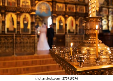 Bride and groom in an orthodox wedding ceremony