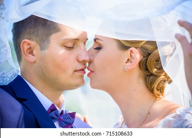Bride and groom in a park kissing, couple newlyweds bride and groom at a wedding in nature green garden are kissing and walk photo portrait .Wedding young Couple