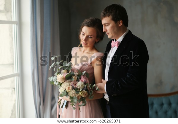 Bride Groom Pink Dress On Their Stock Photo (Edit Now) 620265071