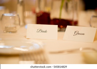 Bride and groom place cards.